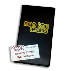 SAN TAN LEADS BUSINESS CARD BOOK AND NAME TAG